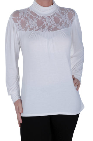 Micaela Lace Polo Neck Top