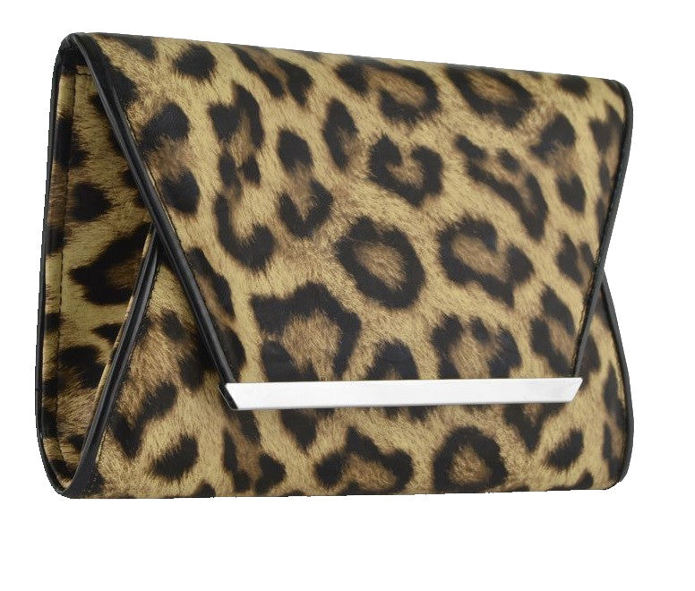 1Animal Print Faux Leather Clutch Bag