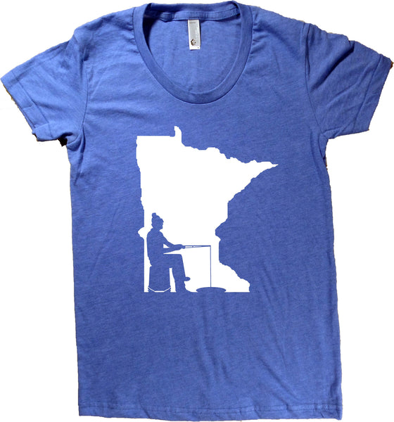 Ice Fishing Minnesota T-Shirt - Women's Fitted