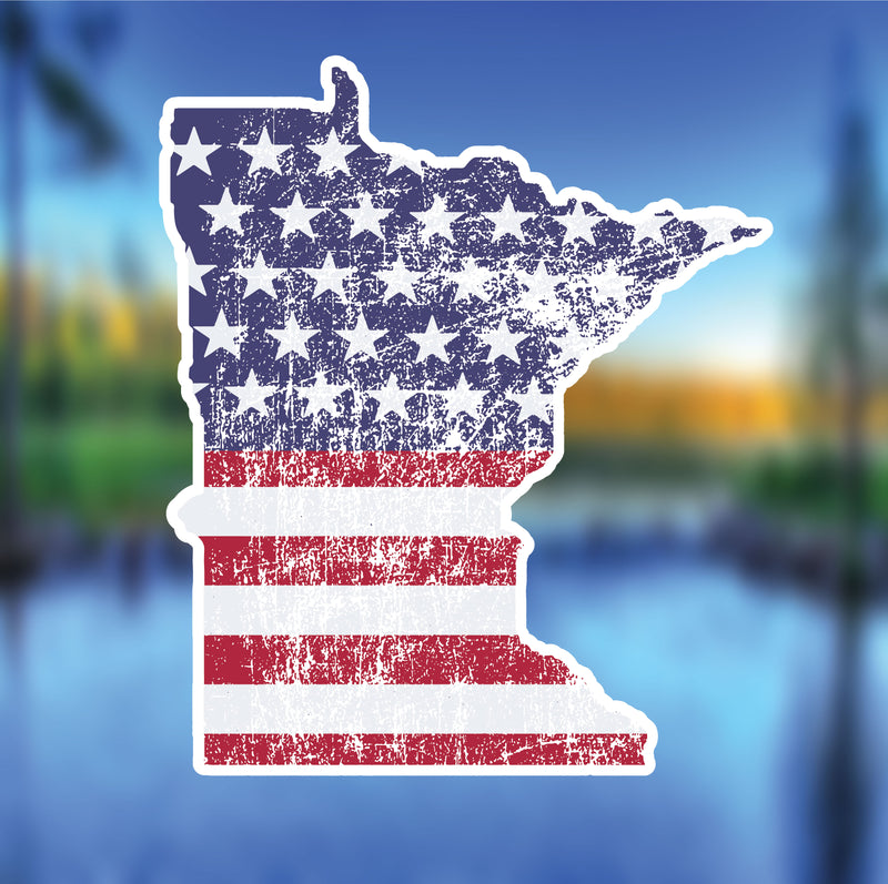 Minnesota USA Flag Vinyl Sticker