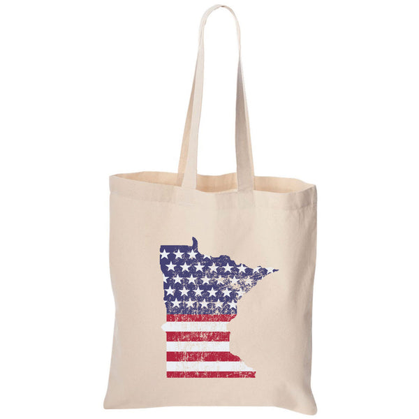 American Flag Minnesota Canvas Tote Bag