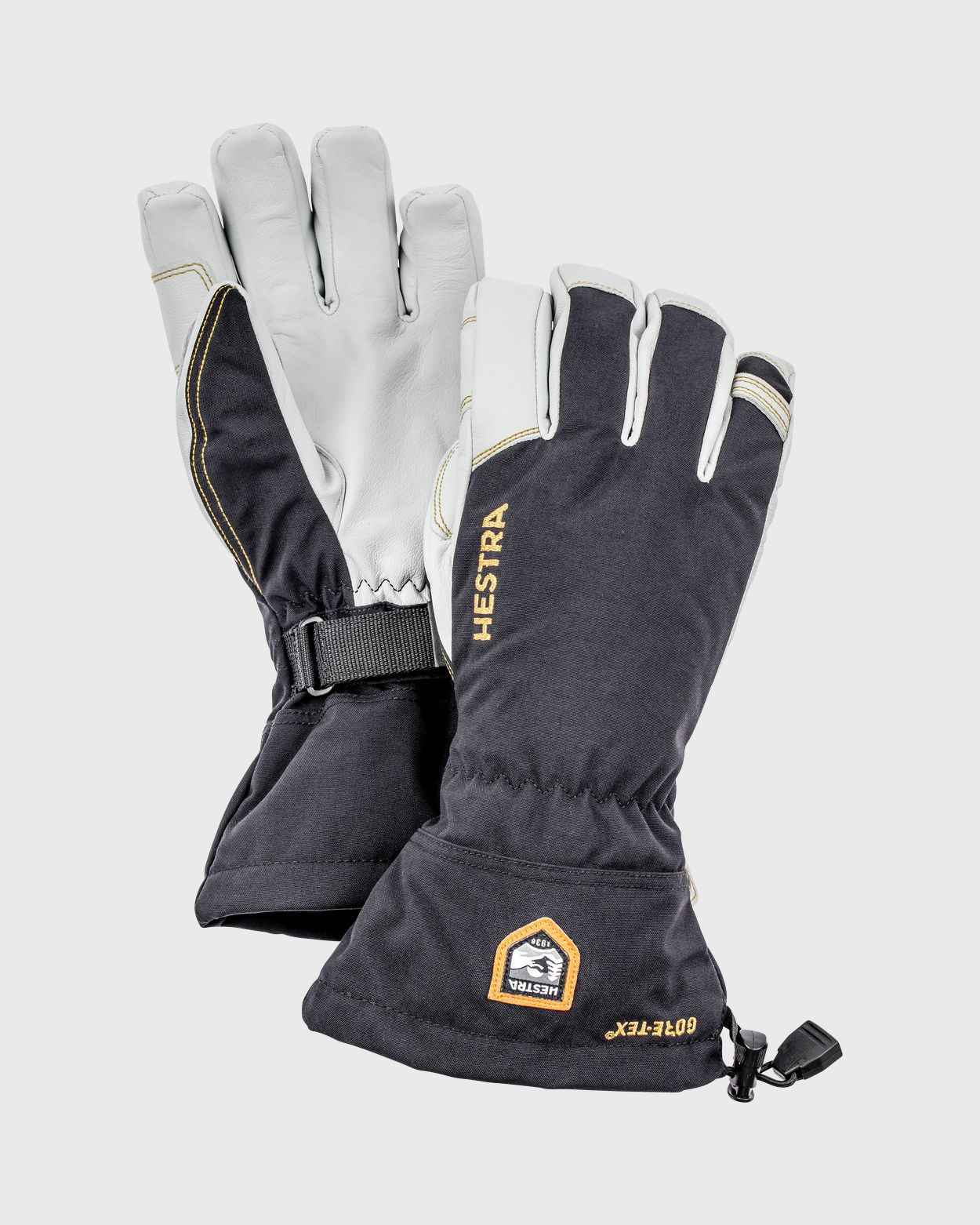 Army Leather Gore-Tex 5 finger Gloves Hestra Black/White 6
