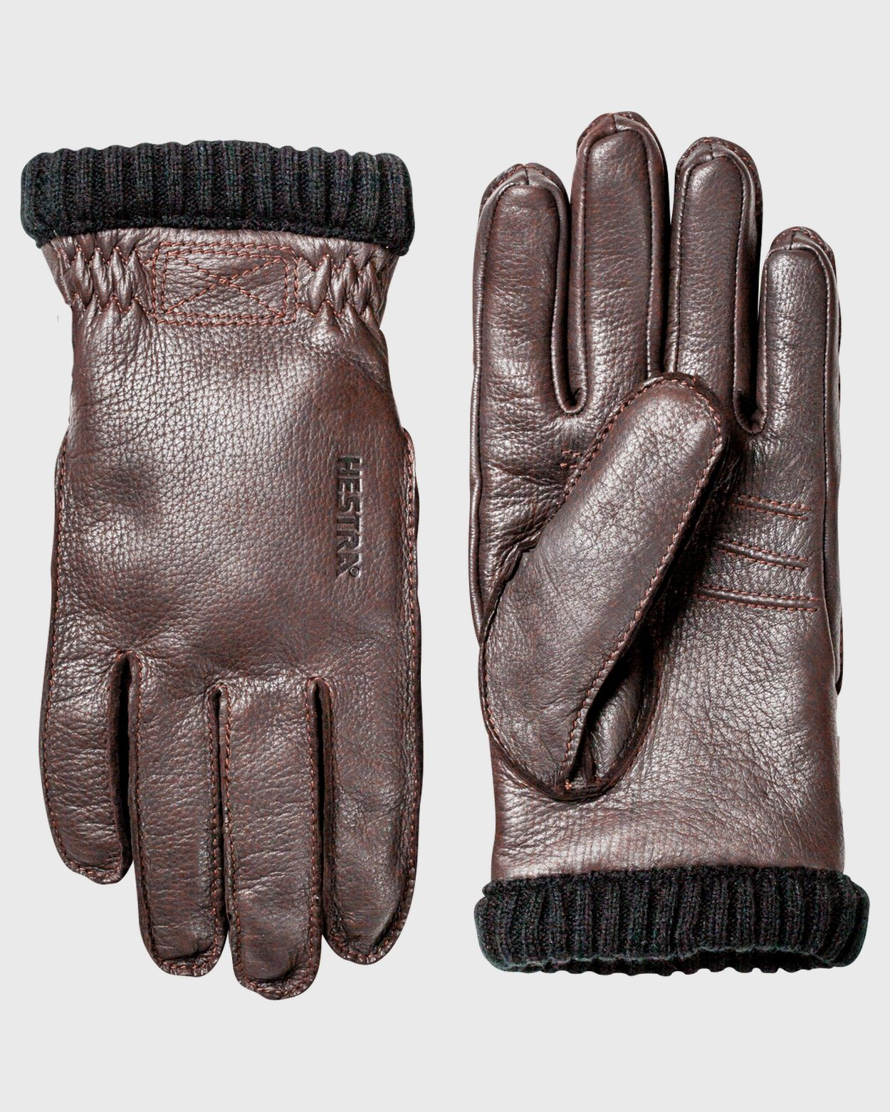 Men's Deerskin Primaloft Rib Glove Gloves Hestra Dark Brown 8