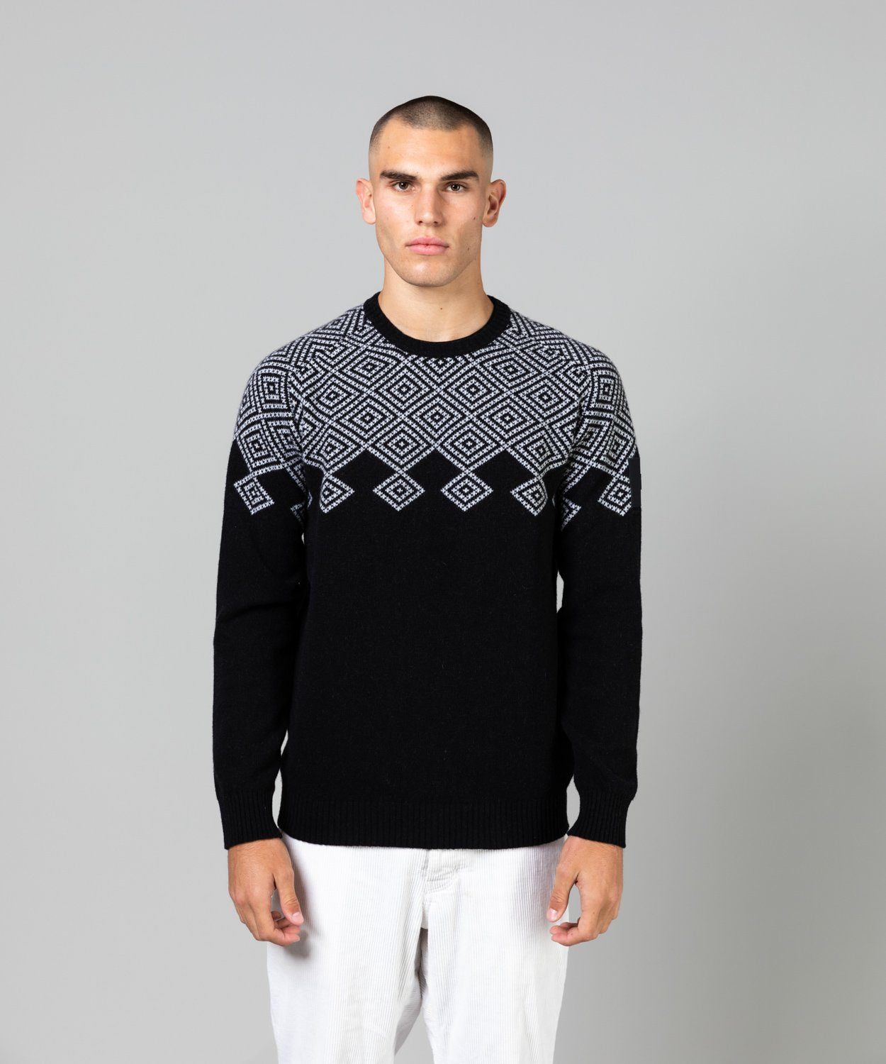 Men's Vernis Jaquard Crew Knit Sweaters | Knitwear Peak Performance Black S