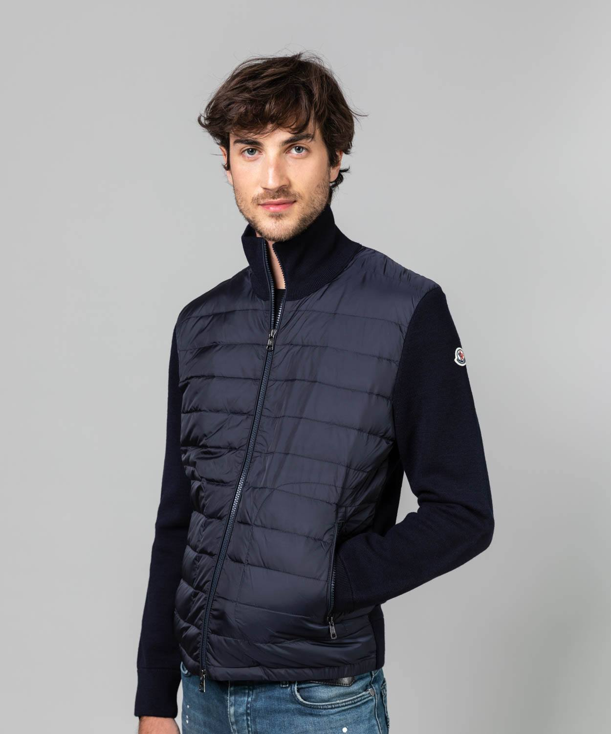 Men's Wool Knit Down Hybrid Jacket Lightweight Jackets Moncler Navy M