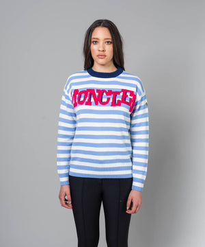 Women's Crewneck Sweater Sweaters | Knitwear Moncler Blue White Stripe XXS