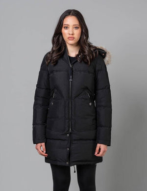Women's Light Long Bear Hooded Down Coat Coats Parajumpers Black S