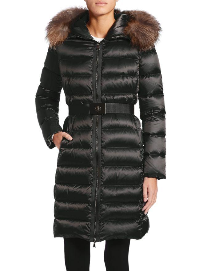 Women's Tinuv Down Fur Hood Coat Coats Moncler Black 0/XS