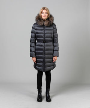 Women's Tinuv Down Fur Hood Coat Coats Moncler Silver Grey 1/S