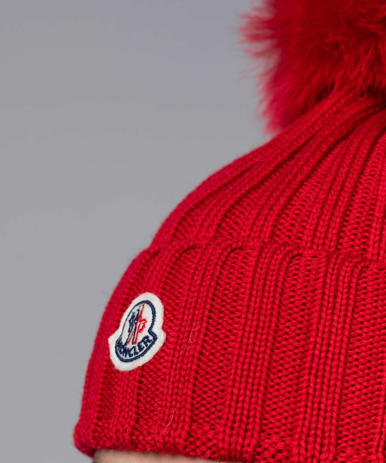 Wool Cable Knit Beanie with Pom Pom Moncler