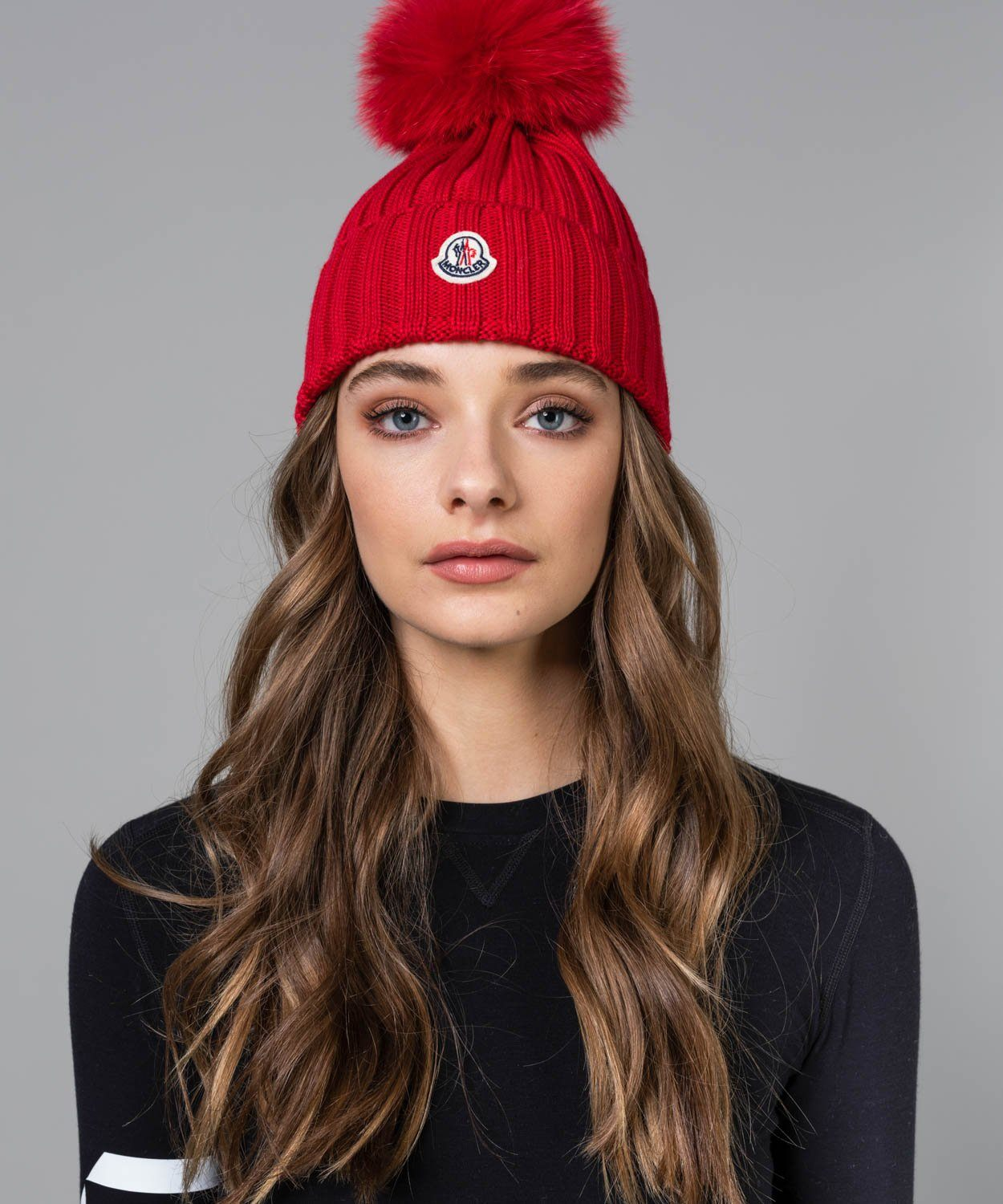 Wool Cable Knit Beanie with Pom Pom Moncler Red OS