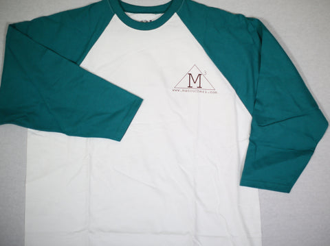 Manoucheri Trio Aqua/White 3/4 Sleeve Tee