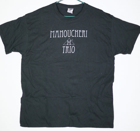 Manoucheri Trio Name/Logo Tee Black w/Silver Print