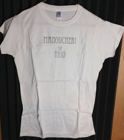 Manoucheri Trio Name/Logo Ladies Tee White Size Large