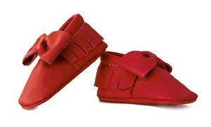 Crimson Red Bow Moccasins