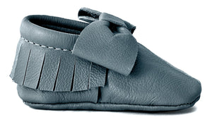 Grey Bow Moccasins