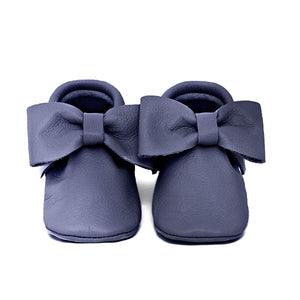 Navy Bow Moccasins
