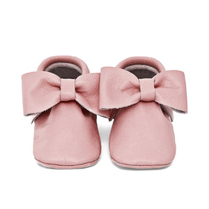 Pale Pink Bow Moccasins