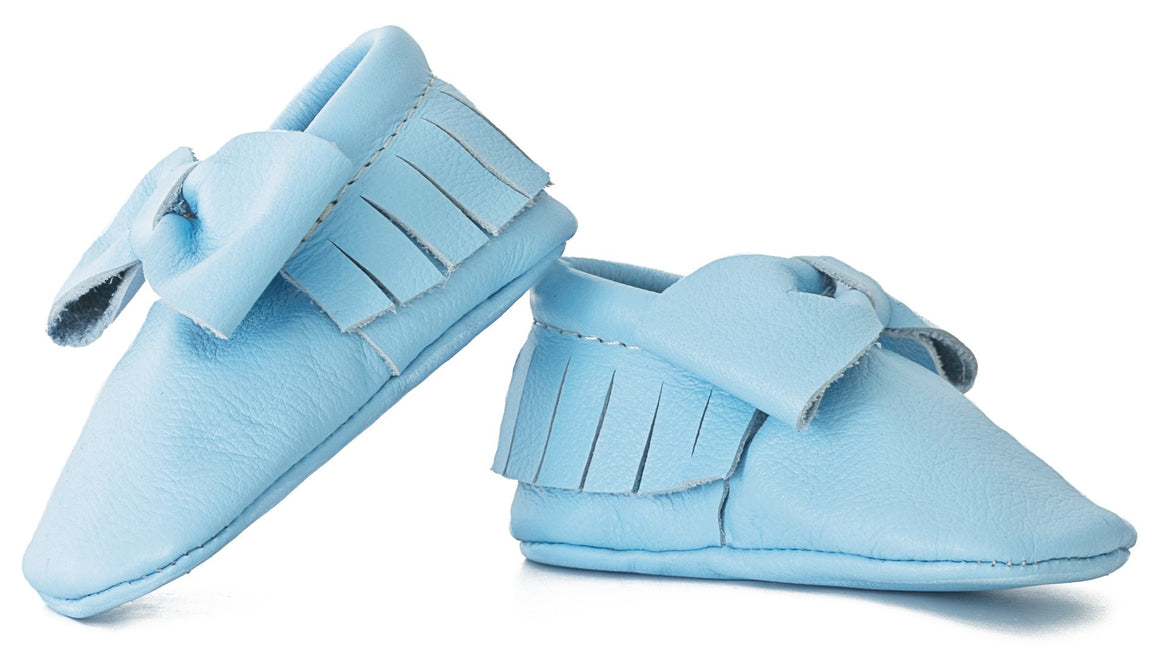 Sky Blue Bow Moccasins