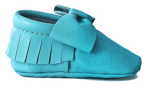 Teal Bow Moccasins