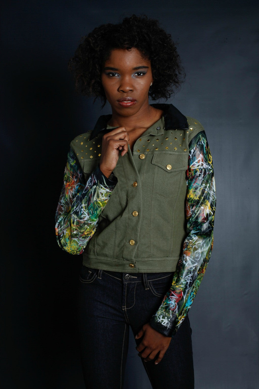 New York Graffiti Sleeves Light Weight Jacket (GREEN)