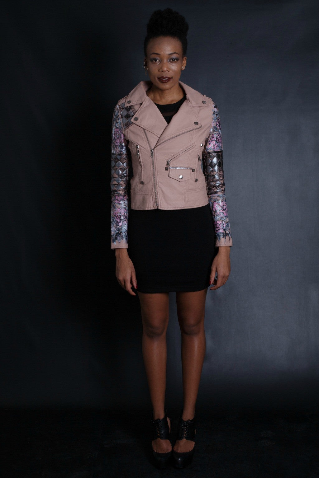 Graffiti Rose & Face Quilted Jacket (Pink)
