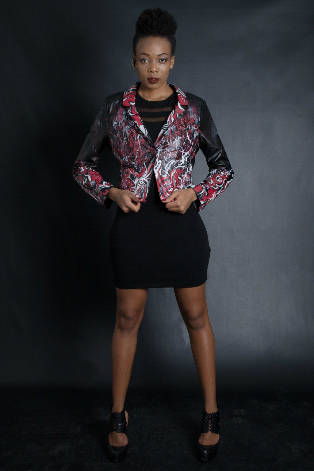 Red Black And White Graffiti Blazer (BLACK)