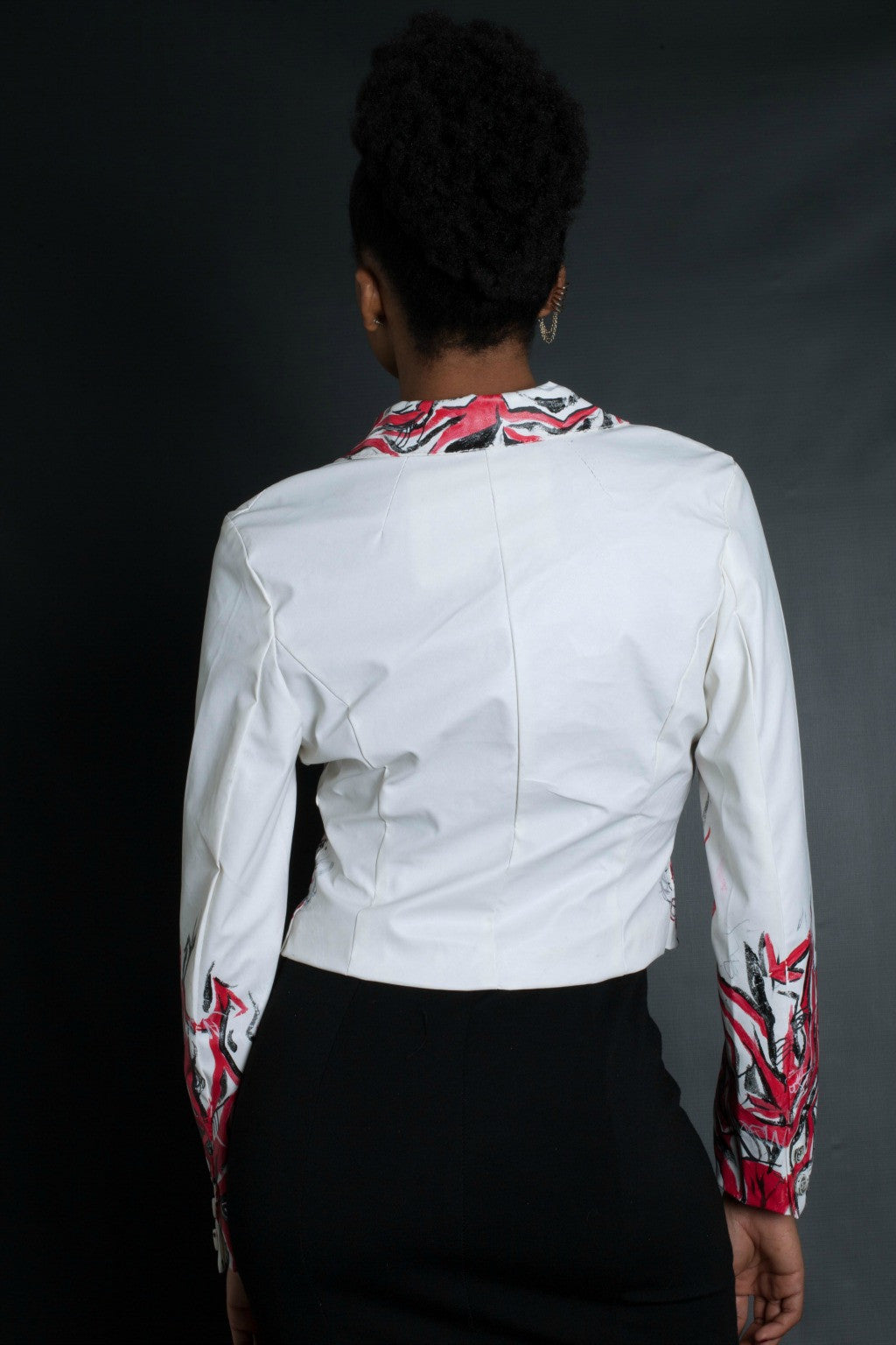 Red Black And White Graffiti Blazer (WHITE)