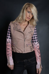 Vintage Vogue- Pink Hand Painted Jacket | Moto
