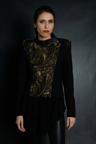 Matrix Inspired Gold Optical Illusion Stenciled Jacket (Black)
