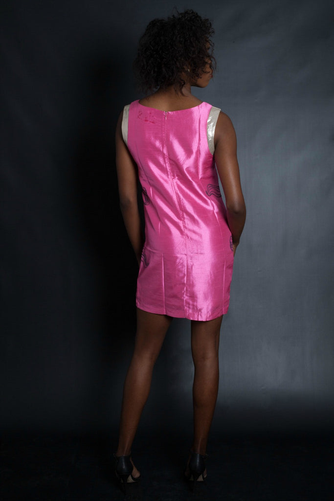 IN YOUR FACE! Graffiti Pink Metallic Dress (Pink)