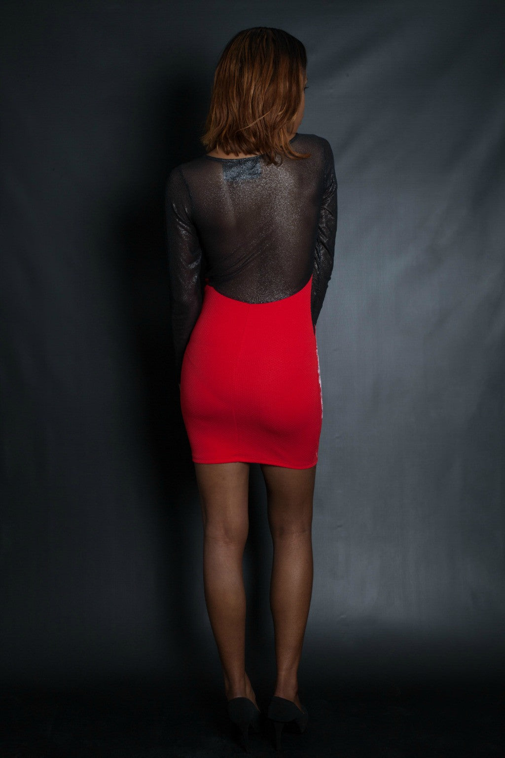 Red Long Sleeve Mesh Skull Dress