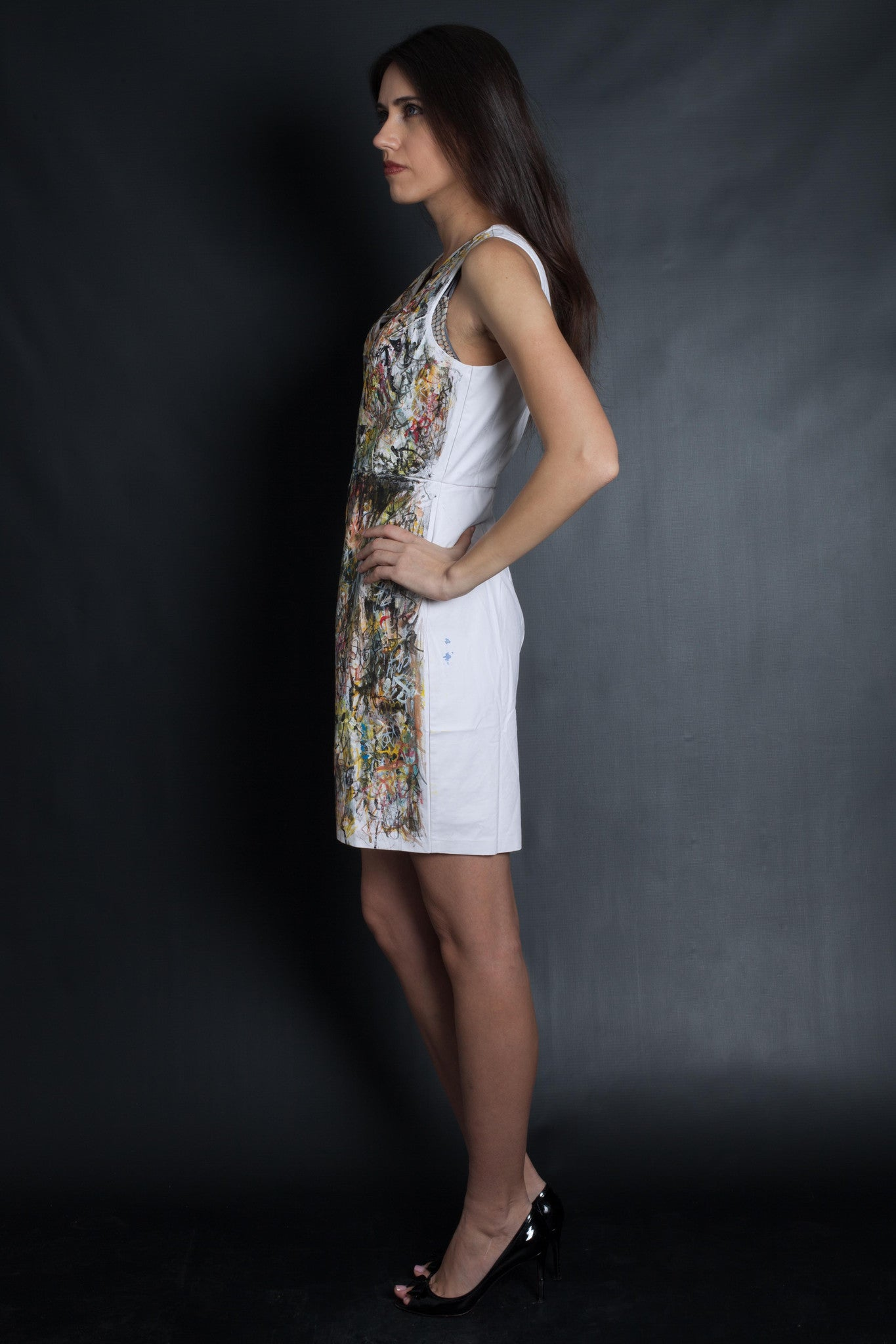 Graffiti Print Faux Leather Dress (White)