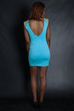 Gold Studded Optical Illusion Stencil Dress (Blue)