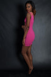 Gold Studded Optical Illusion Stencil Dress (Pink)