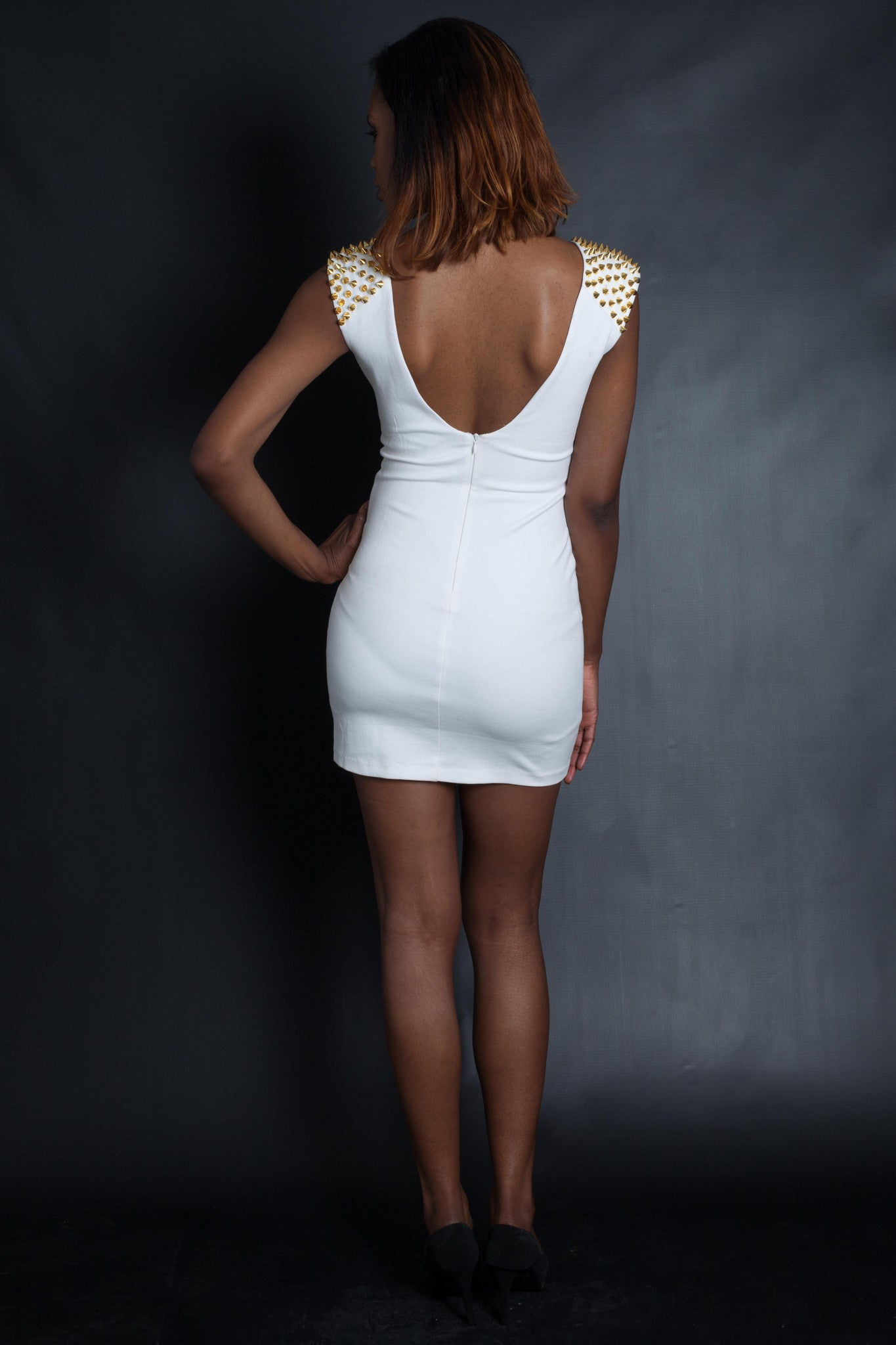 Gold Studded Optical Illusion Stencil Dress (White)