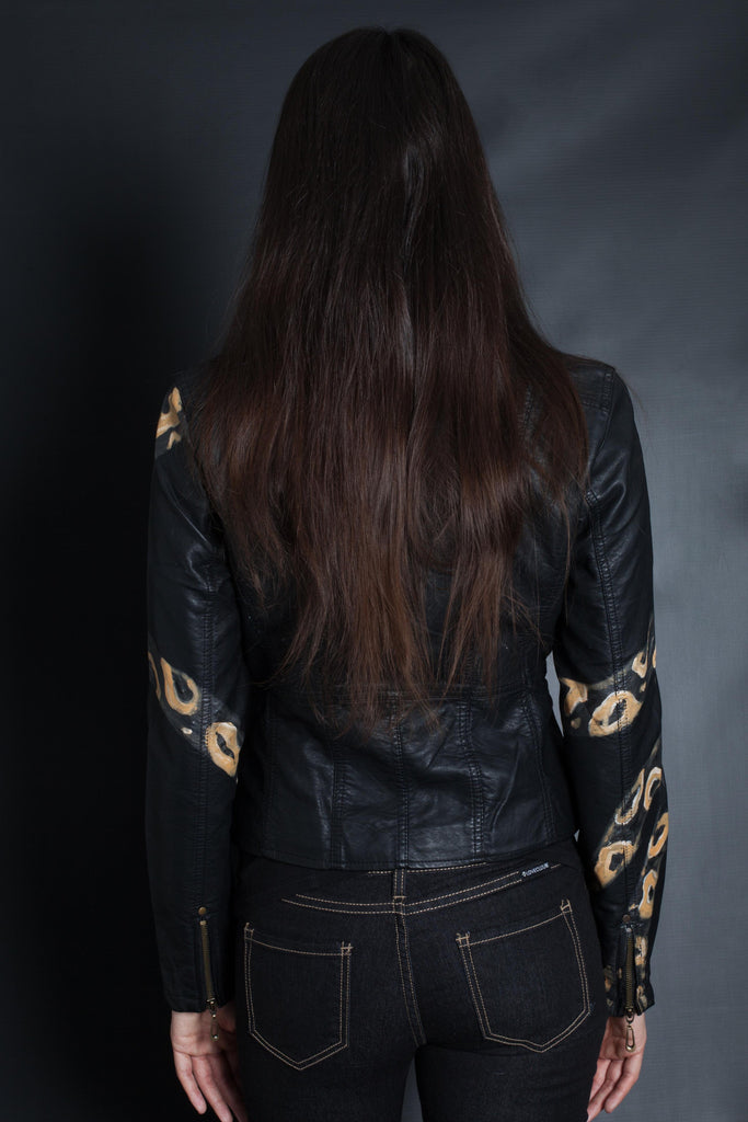 Snake Sleeve Bomber Jacket (BLACK/NATURAL)