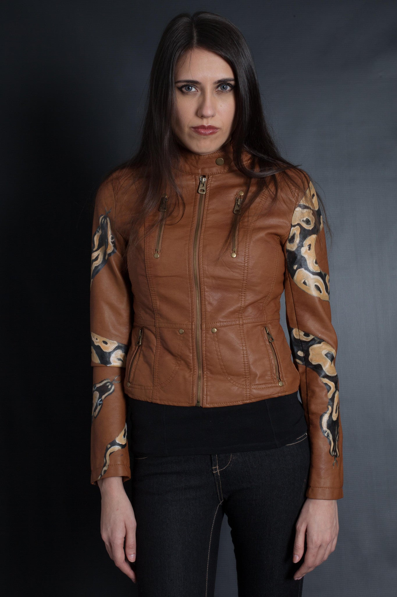 Snake Sleeve Bomber Jacket (BROWN)