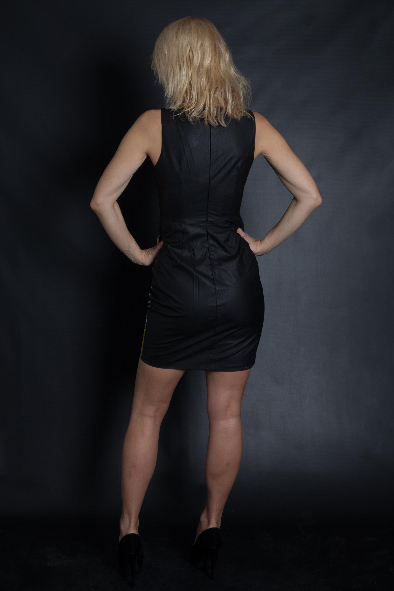 POP ART - Faux Leather Dress (BLACK)