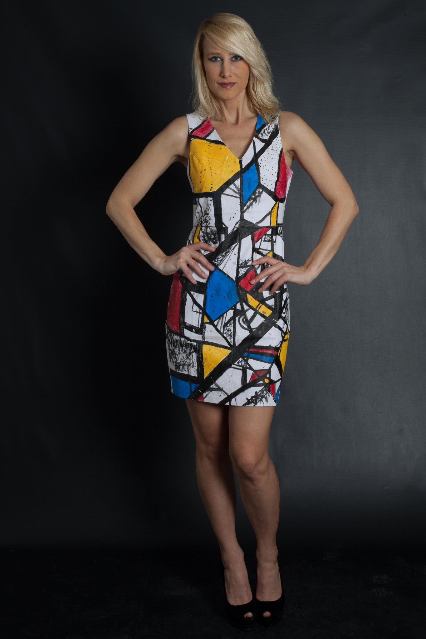 POP ART - Faux Leather Dress (WHITE)
