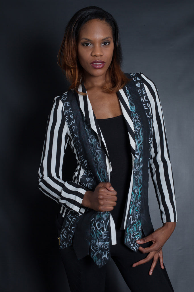 Mens Ties - Graffiti Striped Blazer (Black)
