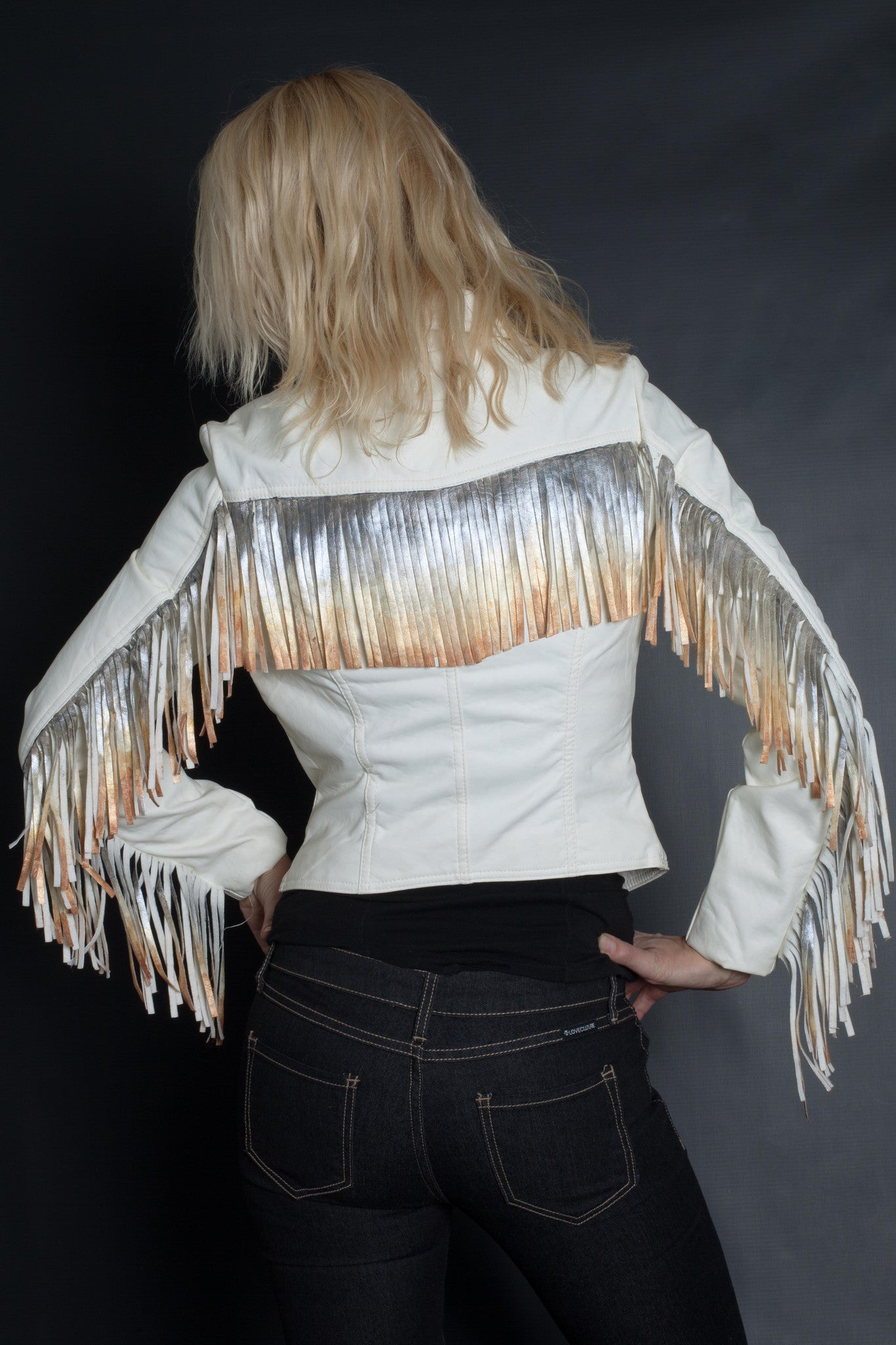 Rock On Ombre Fringe Jacket | Moto (WHITE)