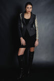 Chanel Inspired Asymmetric Quilted Blazer (Black)