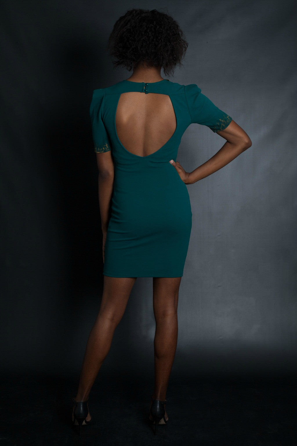 Dramatic Sleeves Graffiti Peacock Dress (Teal)