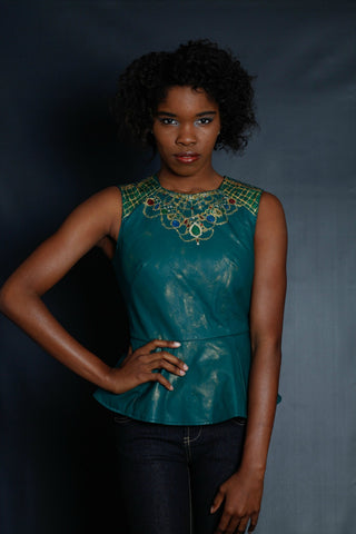 Jewel Neckline Faux Leather Top (Emerald)