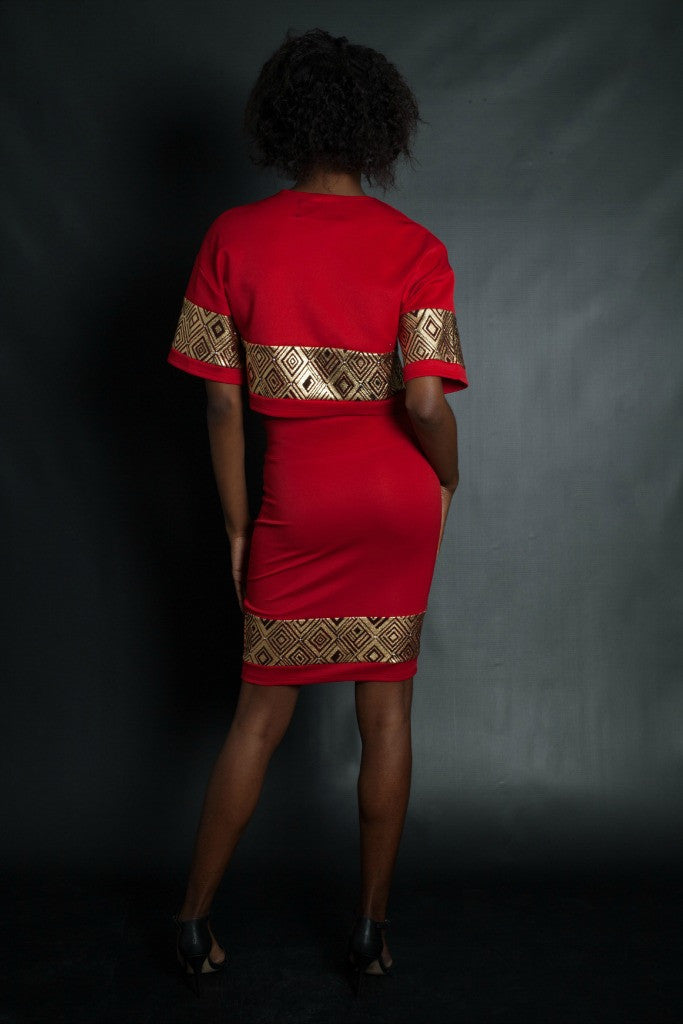 Red and Gold Stenciled Crop Top + Skirt Set