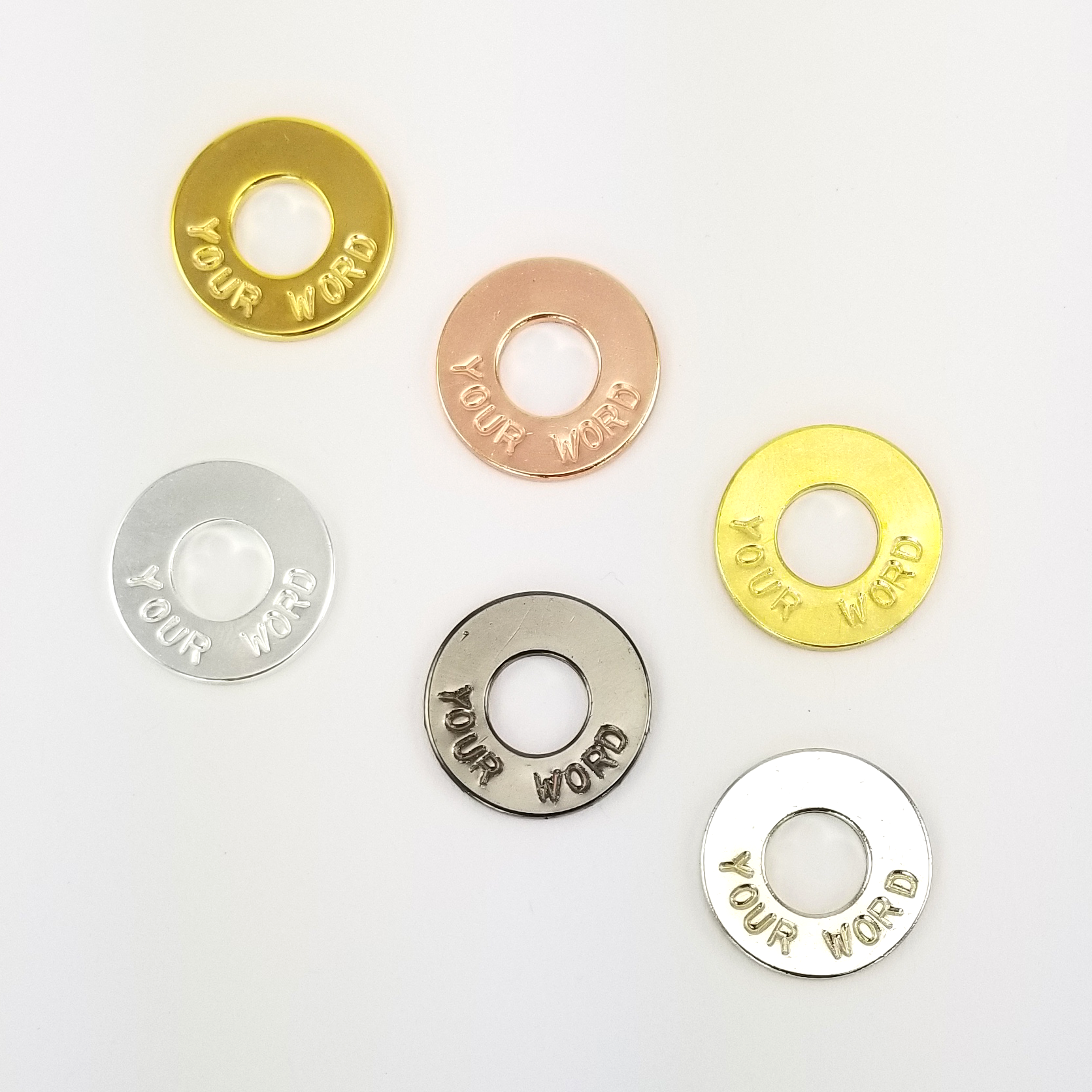 MyIntent Custom Tokens all colors in Brass, Nickel, Gold, Silver, Black Nickel, and Rose Gold