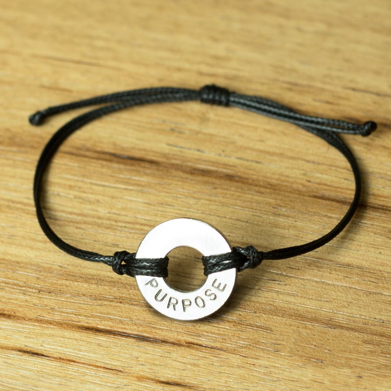 MyIntent Classic Black String Bracelet Nickel Token with the word PURPOSE
