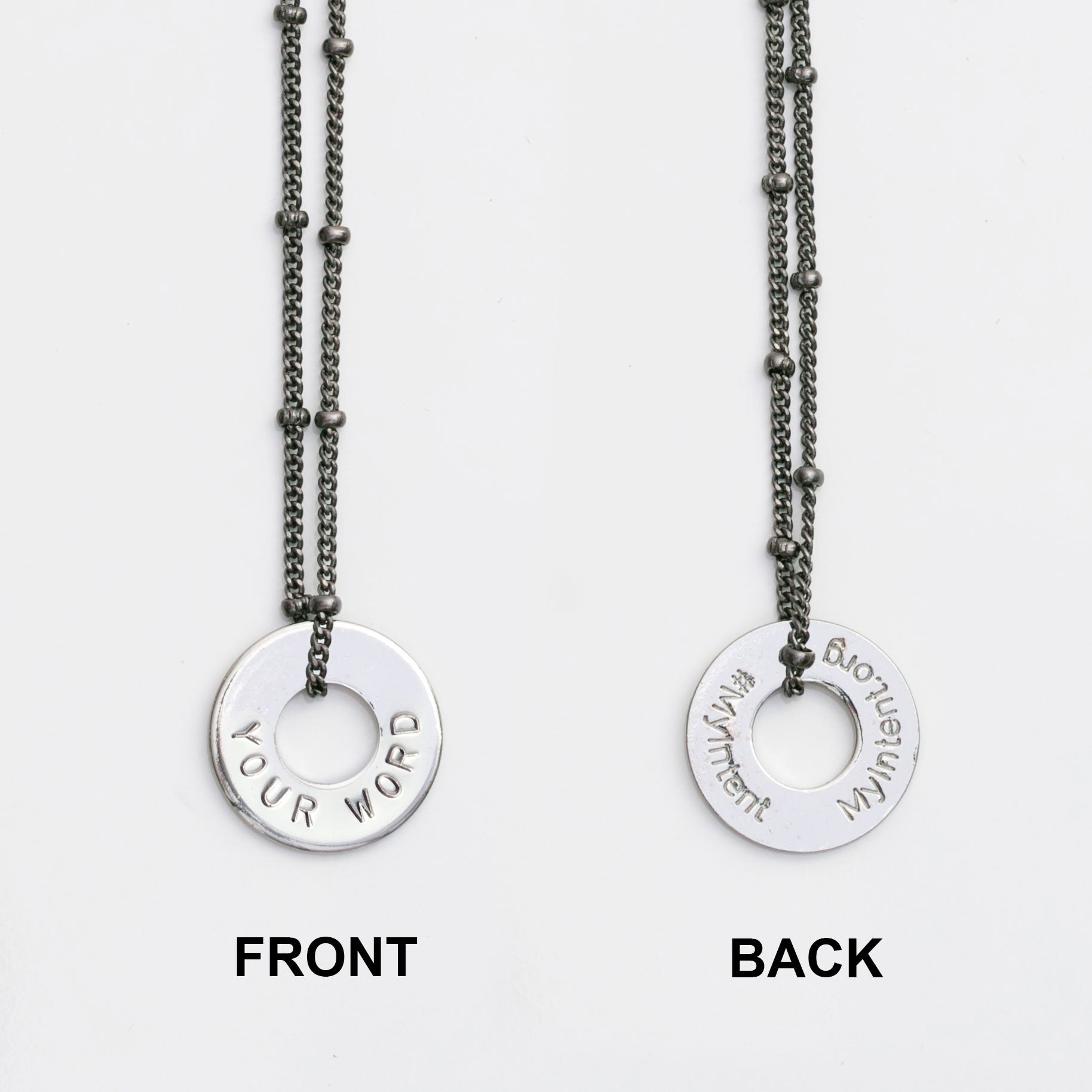 MyIntent Custom Bead Necklace shows YOUR WORD on front and #MyIntent MyIntent.org on back of token