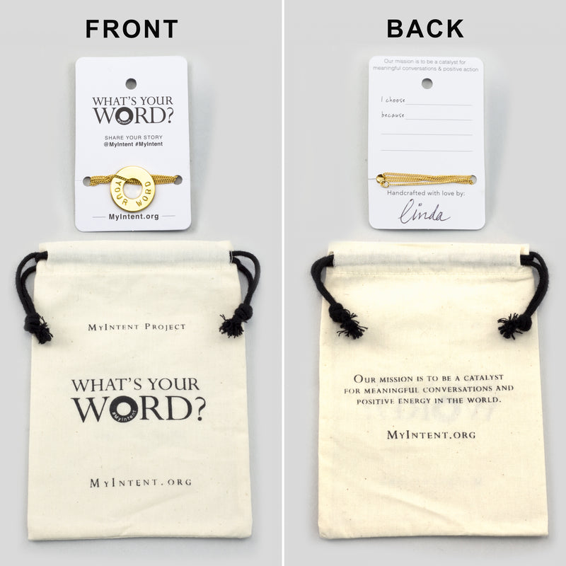 MyIntent Custom Dainty Necklace arrives wrapped around a card with Packaging Bag